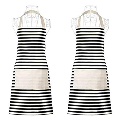 Xornis 2 Pack Cotton Canvas Aprons for Women with 2 Pockets Kitchen, Black