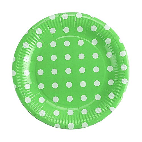 takestop® Pappteller, rund, gepunktet, 19 cm, klein, Geburtstag, Hochzeit, Geburt, Taufe, Party (Set mit 30 Stück, grün)