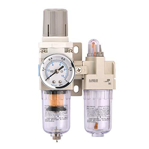 Hochwertig Wasserabscheider Druckluft Druckminderer Druckluftregler für Kompressor, 1/4 Zoll, Empfehlenswert! (1/4 Zweiteil)