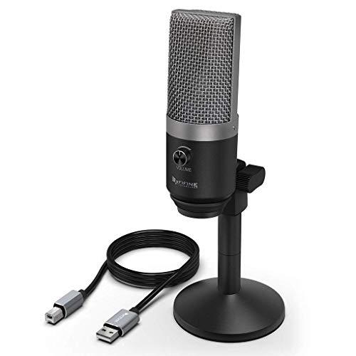 FIFINE Micrófono USB, micrófono PC para Ordenadores Mac y Windows, optimizado para grabación, Twitch Streaming, Voice Overs, Podcasting para Youtube, Chats de Skype - K670 Trabajando en Línea