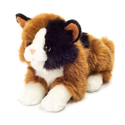 Teddy Hermann 90690 Glücks-Katze liegend 20 cm, Kuscheltier, Plüschtier