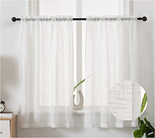 Semi Sheer Curtain Tier Kitchen Bedroom Small Curtain Panels Translucent Lightweight Café Livingroom Privacy Voile Rod Pocket Window Treatment 2 Panels