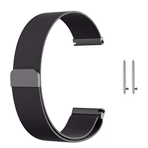invella Metal Strap for Huami Amazfit BIP, Samsung Gear Sport, Ticwatch 2 Smartwatch - (20mm- Black)