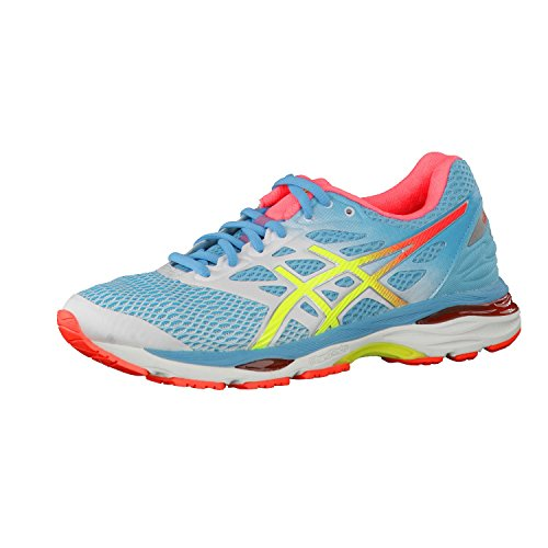 Asics Gel-Cumulus 18, Chaussures de Running - Femme -Multicolore (White/Safety Yellow/Blue Atoll)-38 EU (Chaussures)