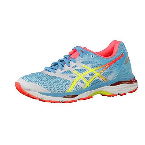Asics Gel-Cumulus 18 Zapatillas de running, Mujer, Azul (White / Safety Yellow...