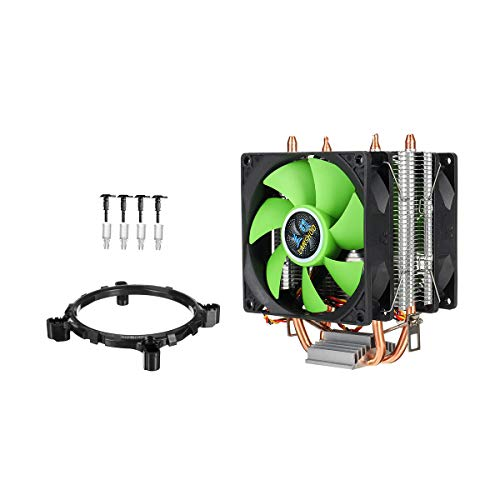 Condensadores 90mm 3 Pines CPU Cooler disipador térmico del Ventilador Ventiladores silenciosos for Intel LGA775 / 1156/1155 for AMD / AM2 / AM3 Doble Cara Ventilador (Color : Green)