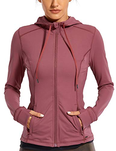 CRZ YOGA Women's Brushed Full Zip Hoodie Jacket Sportswear Hooded Workout Track Running Jacket with Zip Pockets Misty Merlot Medium