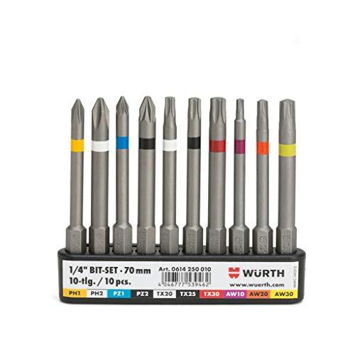 Würth Wiha 0614250010 - Juego de puntas (1/4', con clip para cinturón, 10 unidades)