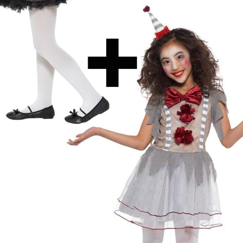 MFD Vintage Clown + weie Strumpfhosen Mdchen Kostüm Zirkus Kinder Kostüm Outfit