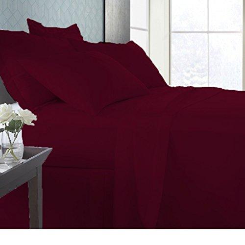 Linen Sheets 100% Organic cotton Super Soft fade resistant fabric Italian finish Premium Quality Bedding Sheet Set, 800 TC GOTS CERTIFIED ORGANIC COTTON with 21' Deep Pocket (Full, Burgundy)