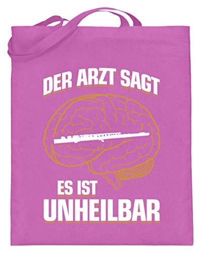 shirt-o-magic Querflöte: .es ist unheilbar - Jutebeutel (mit langen Henkeln) -38cm-42cm-Pink