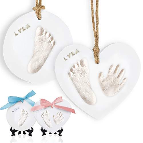 Baby Handprint Footprint Ornament Keepsake Kit - Newborn Imprint Ornament Kit for Baby Girl, Boy - Personalized New Baby Gifts for New Parents - Hand Print Christmas Ornament Kit (Glaze Finish)