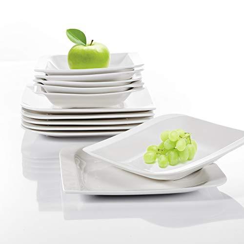 vancasso Gitana Porzellan Tellerset, 12-teilig Set Kombiservice, Beinhaltet Speiseteller und Suppenteller für 6 Personen