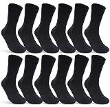 6 | 12 | 24 Paar Socken Damen und Herren Schwarz Baumwolle (12 Paar | Schwarz 39-42)