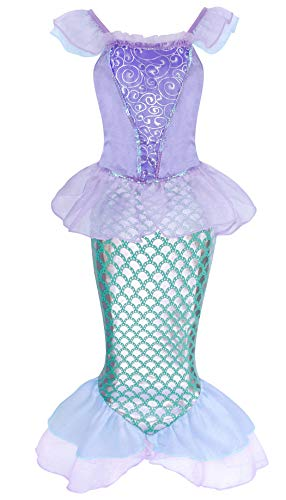 HenzWorld Little Girls Dresses Mermaid Princess Costume Birthday Party Halloween Cosplay Role Pretend Patchwork Outfit Ruffle Cap Sleeve Fish Scale Tails Kids 6-7 Years Old
