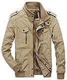 chouyatou Men's Casual Full-Zip Work Wear Military Cotton Lightweight Jacket Windbreaker (X-Large, 22Khaki)