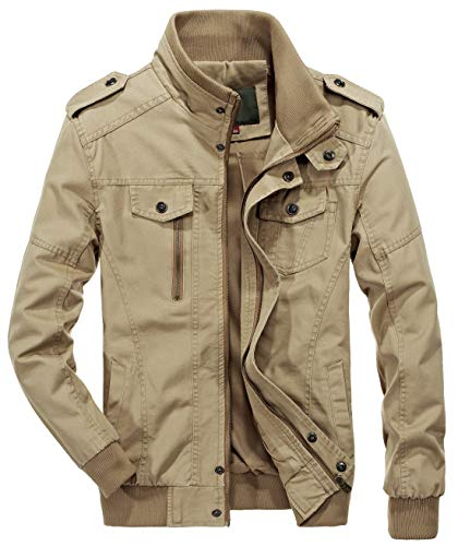 chouyatou Men's Casual Full-Zip Work Wear Military Cotton Lightweight Jacket Windbreaker (Medium, 22Khaki)