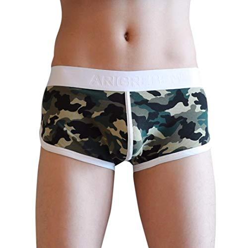 UJUNAOR Herren Sportswear Retro Shorts Hipster Fitted Enganliegend Gummibund Boxer Briefs Shorts(Camouflage,EU XS/CN M)