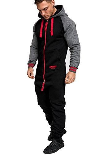 Amaci&Sons Herren Overall Jumpsuit Onesie Jogging Sportanzug Trainingsanzug Jogginganzug 3022 Schwarz/Rot L