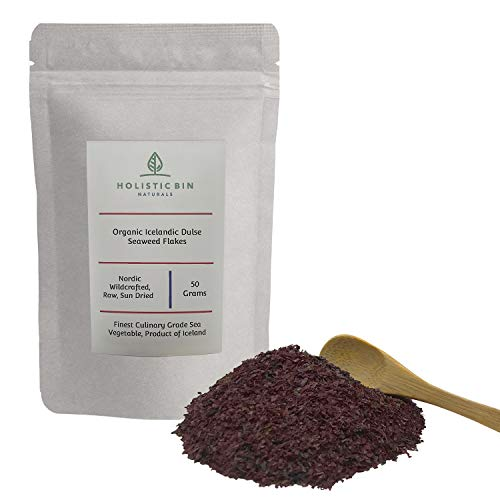 Wildcrafted Icelandic Dulse Flakes by Holistic Bin - Finest Culinary Grade Nordic Sea Vegetable Superfood