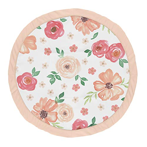 Sweet Jojo Designs Peach and Green Shabby Chic Playmat Tummy Time Baby and Infant Play Mat for Watercolor Floral Collection - Pink Rose Flower