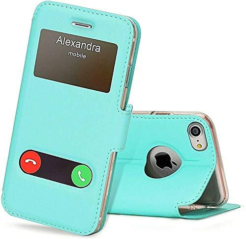 Para todos los Samsung A – Funda con tapa abatible doble ventana tamaño Samsung A20s, color turquesa