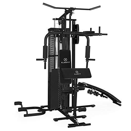 KLAR FIT Ultimate Gym Power - Stazione Fitness Multifunzionale, Power Station, Palestra per Allenamento di Tutto Il Corpo, Inclusi Pesi, 50 Esercizi Diversi, Nero