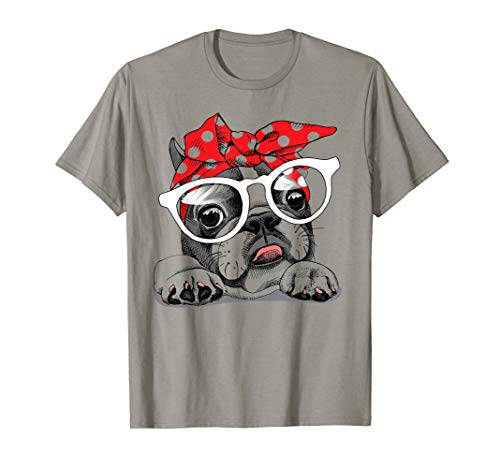 Cute French Bulldog in a headband & with glasses T-Shirt