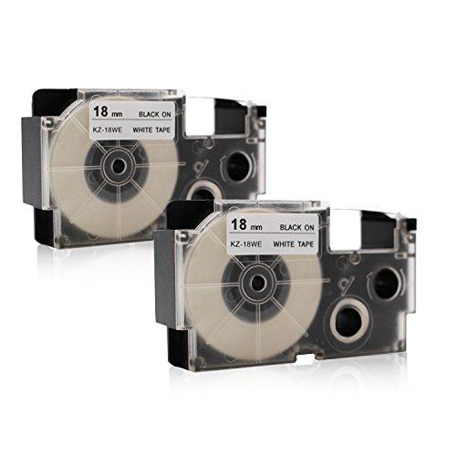 2x Labelwell 18mm x 8m Compatible Cintas de Etiquetas Reemplazo para Casio XR-18WE XR-18WE1 Negro sobre Blanco para Casio KL-120 KL-130 KL-200 KL-200E KL-300 CW-L300 KL-430 KL-C500 KL-HD1 Impresoras