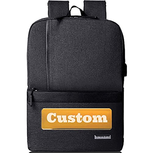 Mochila personalizada de personal personalizada Mujeres 15.6 Bolso portátil para hombres USB Mochila Chicas (Color : Black, Size : One size)