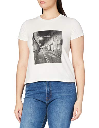 True Religion Street Scene Classic Crew Camiseta, Gris vaporoso, M para Mujer