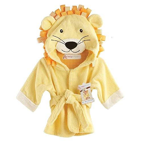 Hooyi Baby Bath Lion Asciugamani Neonato Coperta Coperta Swaddle Animali Accappatoio Con Cappuccio Asciugamano Da Bagno 0-12 mesi (Giallo, L (130 cm)