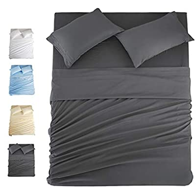COHOME Queen Bed Sheets Set 4 Piece, Microfiber 1800 Thread Count Luxury Egyptian Sheets-Stain Wrinkle Fade Resistant, Hypoallergenic 16 inch Deep Pocket Bedding Set (Dark Grey)