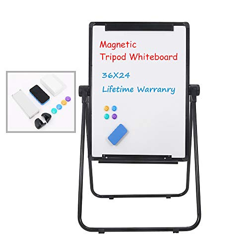 Grope Easel-Style Dry Erase Boards Black Frame Double Sided Portable Whiteboard Height Adjustable Flipchart Easel Office Presentation Board 36 inches x 24 inches (90cm x 60cm)