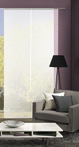 Vision S 55401 | 2er-Set Schiebegardine ROM | halb-transparenter Stoff in Bambus-Optik | 260x60 cm | Farbe: (weiß)
