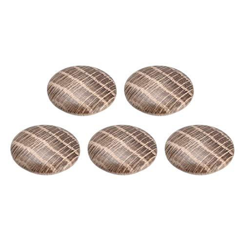 DyniLao Tapones de botón de madera de roble de 0,8 pulgadas Tapones para muebles con orificio de tornillo de madera dura, paquete de 5