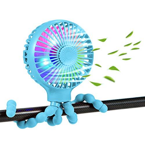 scurry Upgraded Stroller Fan Mini Battery Operated Fan Small USB Rechargable Desk Fan Baby Portable Fan Flexible Tripod Clip On Fan with 3 Speeds Baby Stroller Fans for CarSeat Crib Treadmill (Blue)