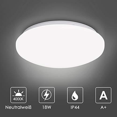 Albrillo LED Deckenleuchte - 18W Deckenlampe, Neutralweiß 4000K, IP44 Wasserdicht, Super helle Badlampe für Badzimmer, Balkon, Küche, Treppenhaus, Durchmesser 27cm