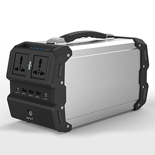 TOPQSC Generador Solar portátil con AC/DC Inverter para Camping Fuente de alimentación DC & outports USB, Cargado por el Panel Solar/Toma de Corriente/Salida de Coches (440Wh / 120,000mAh)