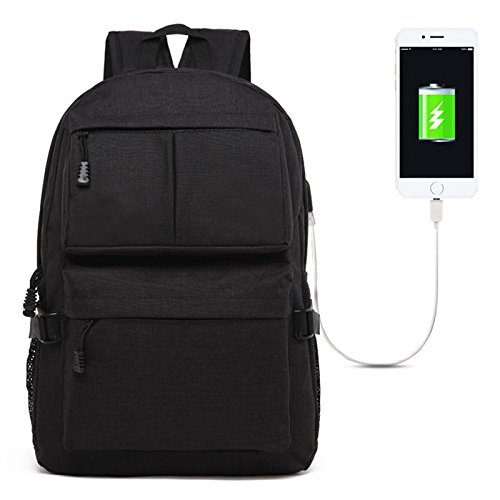 Universal Multi-Function Oxford Cloth Laptop Shoulders Bag Backpack With External USB Charging PortSize: 46x32x12cm 15.6 inch PingGongHuaKeJiYouXianGongSi (Color : Black)