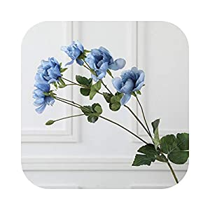 Real Touch Artificial Anemone Flowers Silk Flores Artificiales for Wedding Holding Fake Flowers Home Garden Decorative Wreath-Blue-M