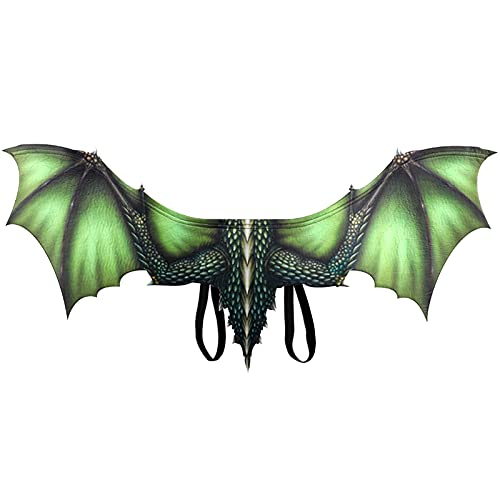 JUANJUAN Mascara de Halloween Halloween Cosplay Alas De Dragón Ligeras para Adolescentes O Adultos, Halloween Mardi Gras Dragon Costume Cosplay Wings, Unisex(Color:Verde)