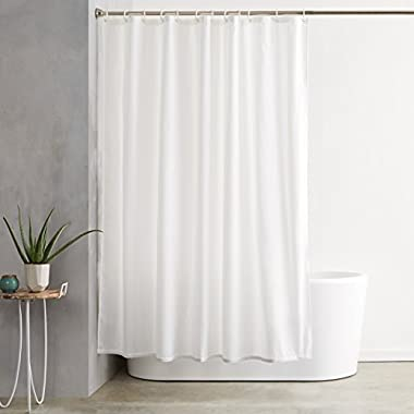 AmazonBasics Shower Curtain with Hooks (Treated to Resist Deterioration by Mildew) - 72 x 72 inches, White