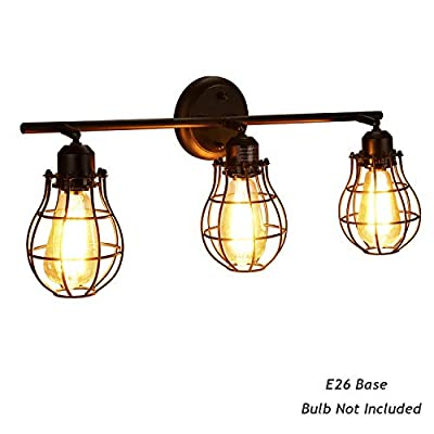 3-Light Vanity Light, Bjour Industrial Vanity Lights Black Caged Bathroom Wall Sconces Rustic Vanity Lighting Fixtures Vintage Bathroom Wall Lighting, E26 Base