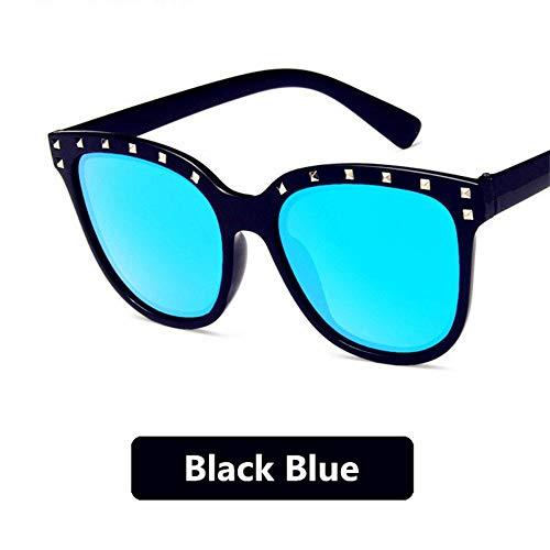 MOJINGYAN Gafas de Sol Gafas de Sol de Moda Mujer con Diamantes de Imitación clásico Ojo de Gato Hembra Vintage Retro Gafas de Sol, Gafas de Sol polarizadas Azul