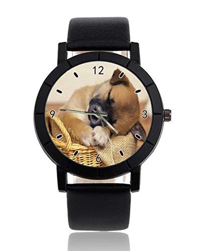 Personalisierte Armbanduhr, Motiv: schlafender Hund im Korb, leger, schwarzes Lederarmband, Armbanduhr für Herren und Damen, Unisex