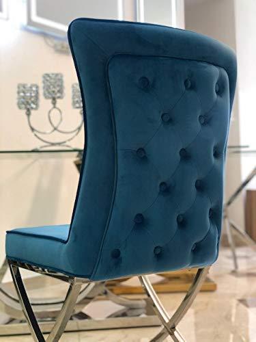 Bador Chesterfield Valencia - Silla tapizada (acero inoxidable), color azul