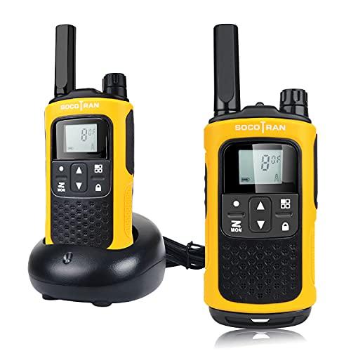 SOCOTRAN PMR446 Sin Licencia Radio de jamón Walkie Talkie Radio Doble Recargable Radio de Largo Alcance con Cargador Handy Walkie Talkies 8CH VOX Monitor Linterna con baterías y códigos de privacidad