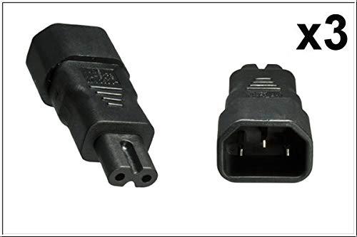 DINIC Stromadapter, Netzadapter C7 Euro-8 Stecker auf C14 Kaltgeräte-Buchse Adapter 3-pin auf 2-pin (3 Stück, schwarz)