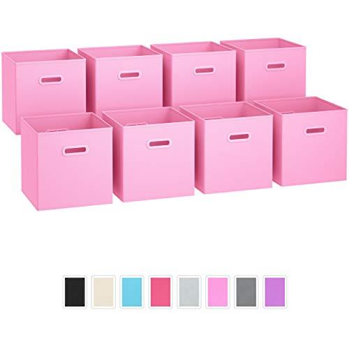 Juego de 8 cubos de almacenamiento plegables de tela con asas de plástico duales Cubos de almacenamiento Organizador de estante de...